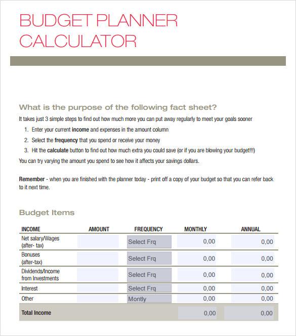 9+ Sample Budget Calculators Sample Templates - budget calculator template