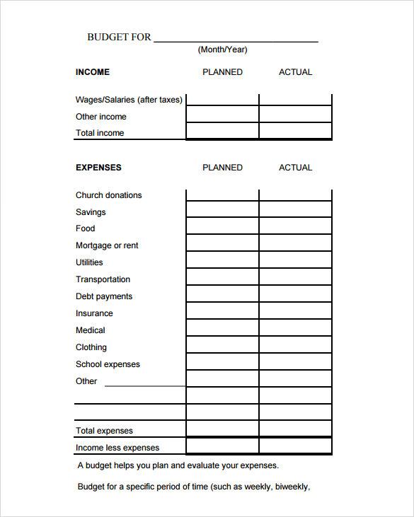 budget calculation template - Ozilalmanoof