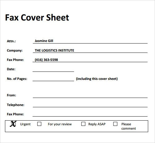 Printable Professional Fax Cover Sheet 4 Printable Fax Cover Sheet