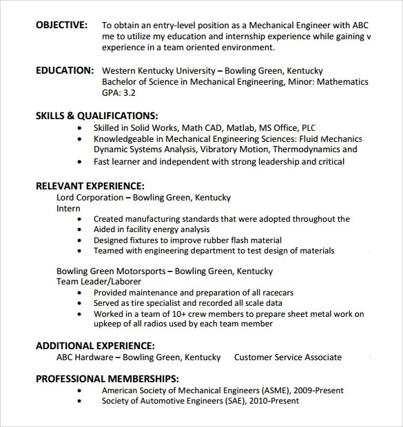 9+ Entry Level Resume Templates to Download Sample Templates - entry level resume objective examples