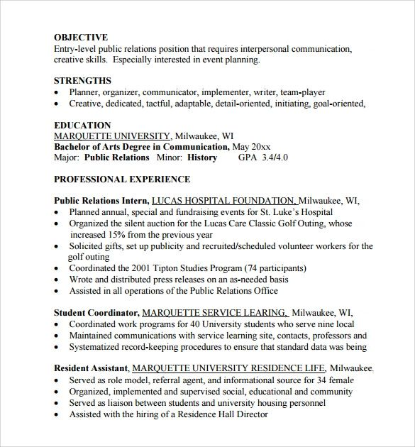 examples of entry level resumes