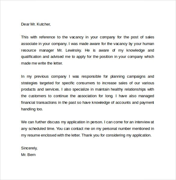 9 Sales Cover Letter Templates \u2013 Samples , Examples  Format - sales cover letter template