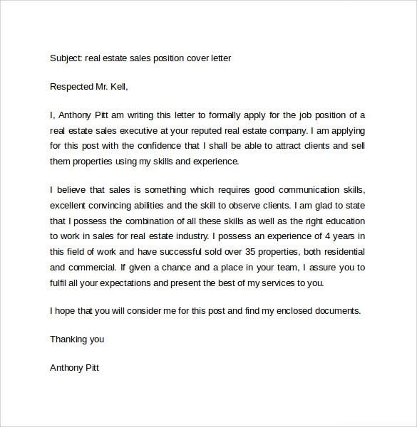 Cover Letter Examples Real Estate - Realtor Cover Letter