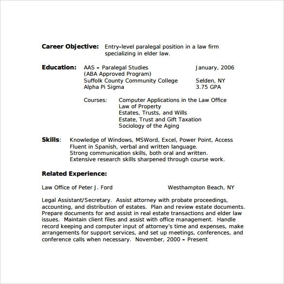 paralegal resume template word
