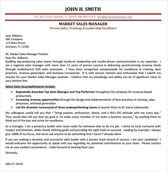 marketing sales letter example