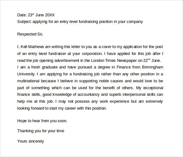 cover letter for fundraising position - Apmayssconstruction