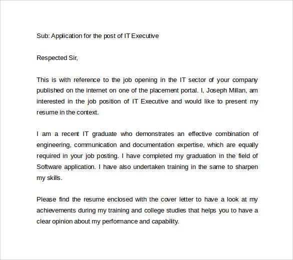 8+ Sample IT Cover Letter Templates Sample Templates