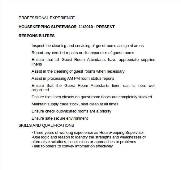 sample of resume for housekeeping supervisor