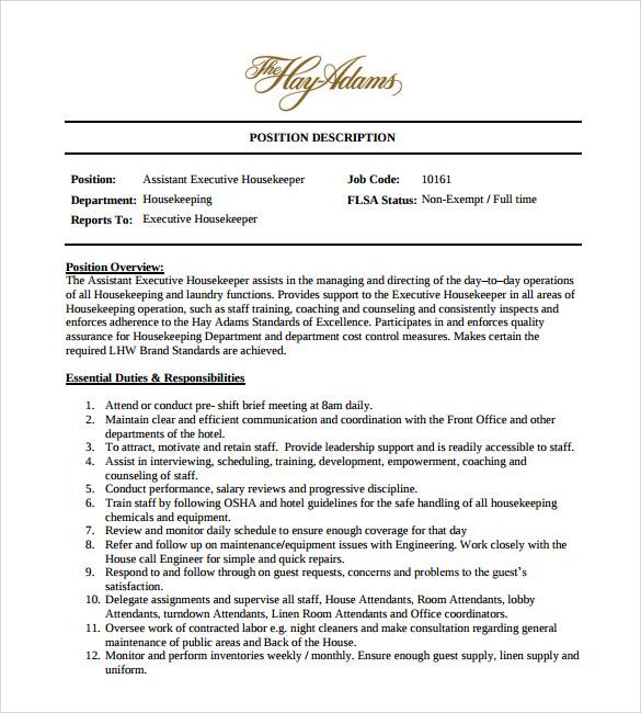 housekeeping skills resume