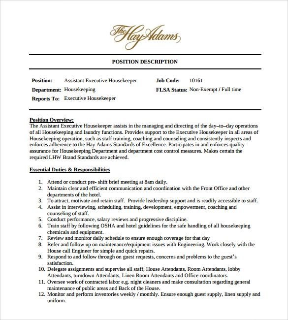 sample resume of housekeeping manager