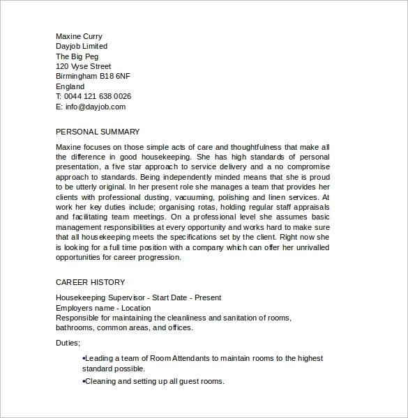 Cover Letter Housekeeping Supervisor Position Product Development ...