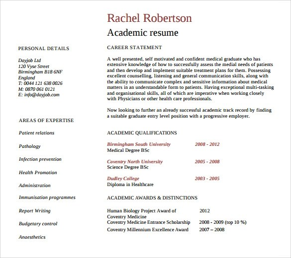 Sample Academic Resume - 8 + Download Free Documents in PDF, Word