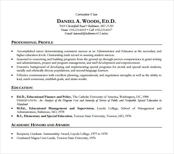 9 Academic Resume Templates to Download Sample Templates - academic cv