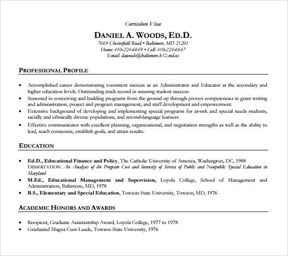 academic cv us example