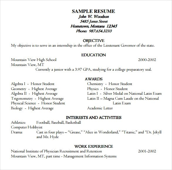 9 Academic Resume Templates to Download Sample Templates - academic resume template word