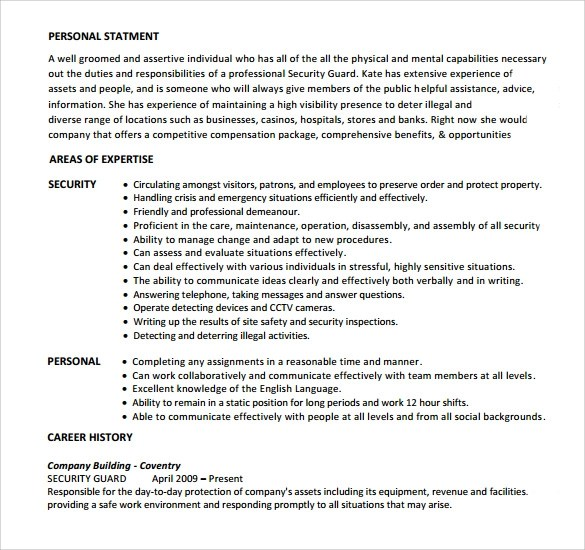 8 Security Guard Resume Templates to Download Sample Templates