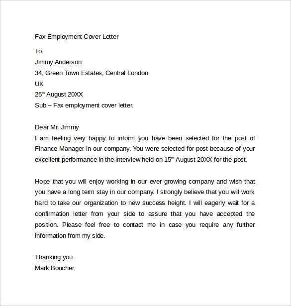 how to fax cover letter