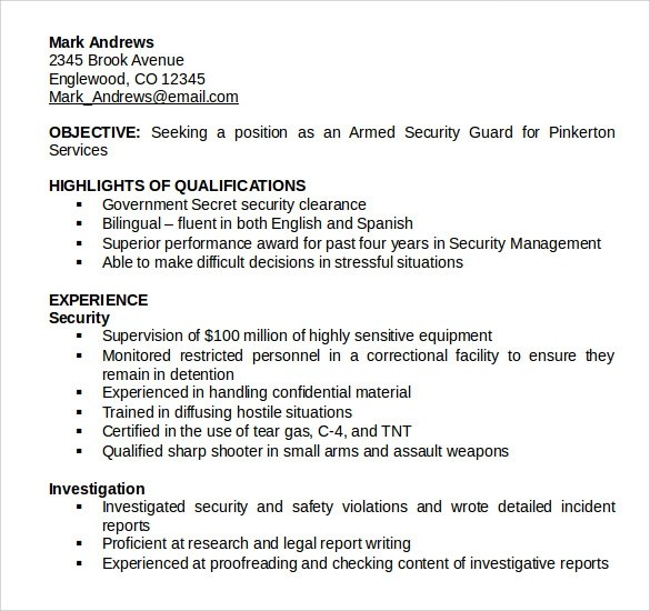 Sample Security Guard Resume - 7+ Free Download Free Documents In