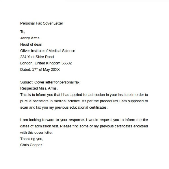 10 Fax Cover Letter Templates \u2013 Samples, Examples  Format Sample - fax cover letters