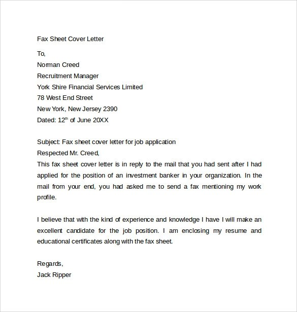 Fax Cover Letter - 9+ Free Samples, Examples  Format