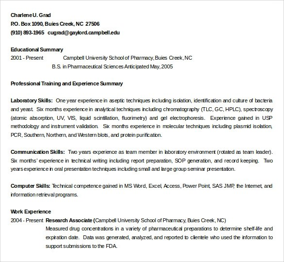 Pharmacy Technician Resume Responsibilities  Create Professional