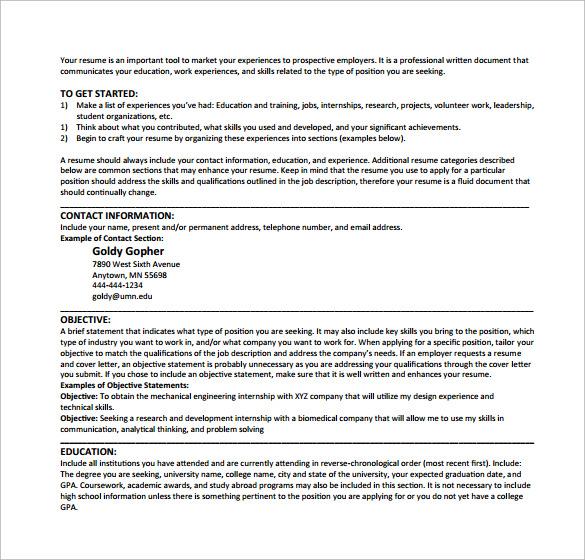 simple resume example pdf