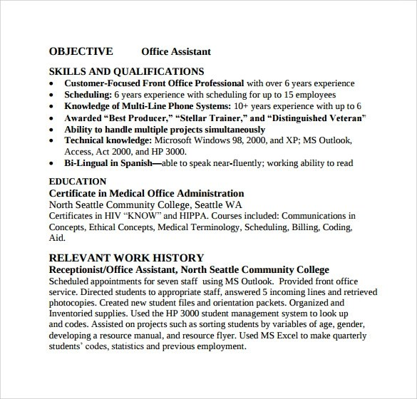Sample Office Assistant Resume - 9+ Download Free Documents In PDF, Word