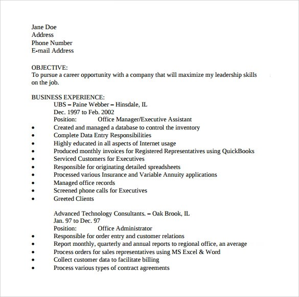 10 Office Assistant Resume Templates to Download Sample Templates - Resume Office Assistant