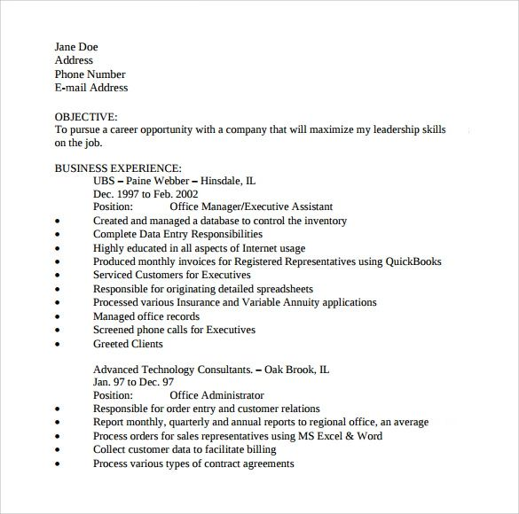 resume sample for an office assistant