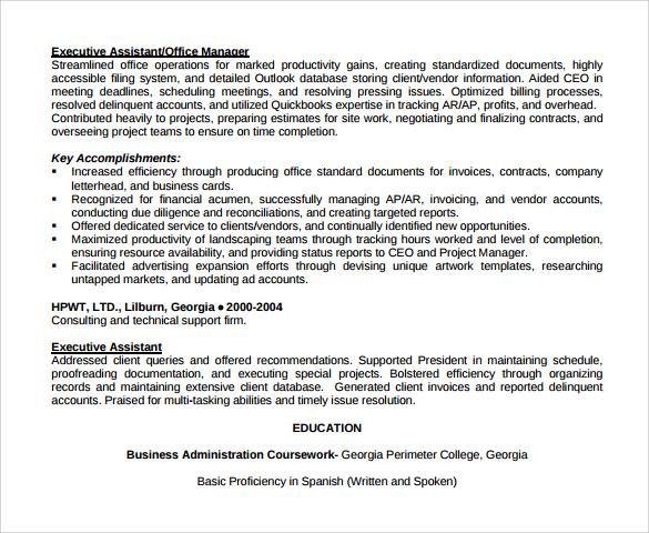 resume sample in word