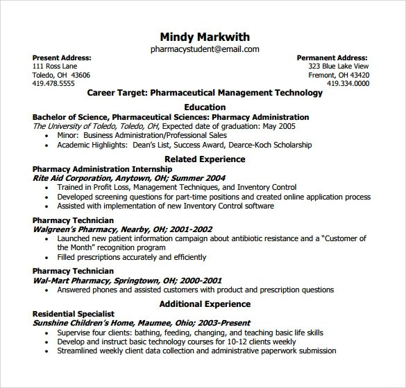 9+ Sample Pharmacy Technician Resumes to Download Sample Templates - sample of pharmacy technician resume