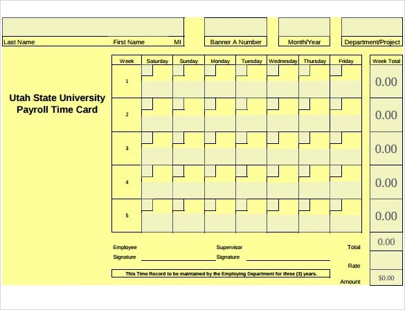 printable employee time card template