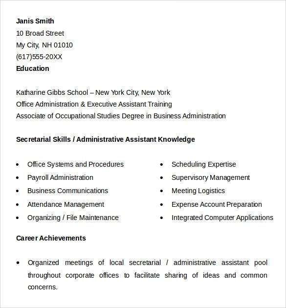 sample resume of office executive