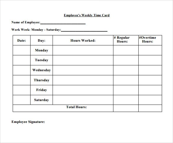 8+ Sample Time Card Calculators Sample Templates - employee time card