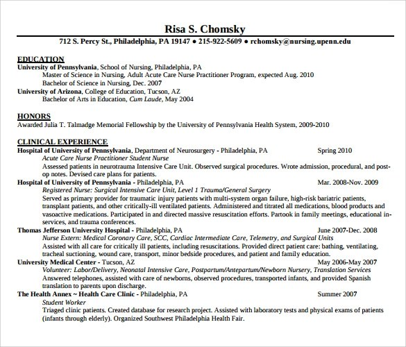 Example Of Nurse Resume - example of registered nurse resume