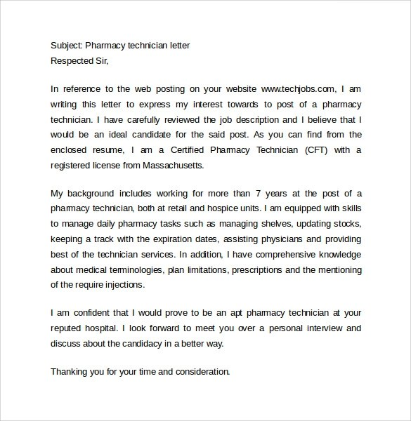 14 Pharmacy Technician Letters \u2013 Samples, Examples  Format Sample