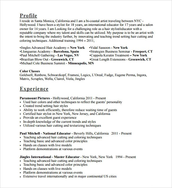 Sample Hair Stylist Resume - 7+ Free Documents In PDF, Word