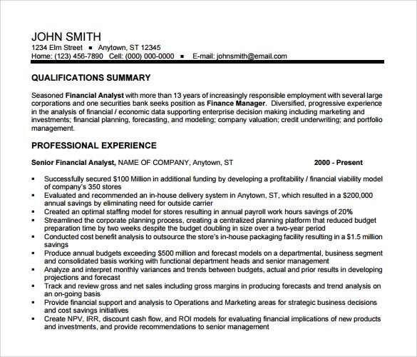 12+ Sample Financial Analyst Resumes Sample Templates