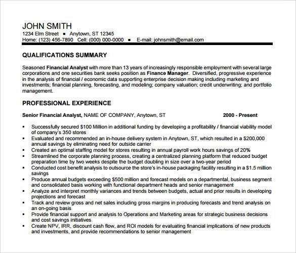 financial data analyst sample resume