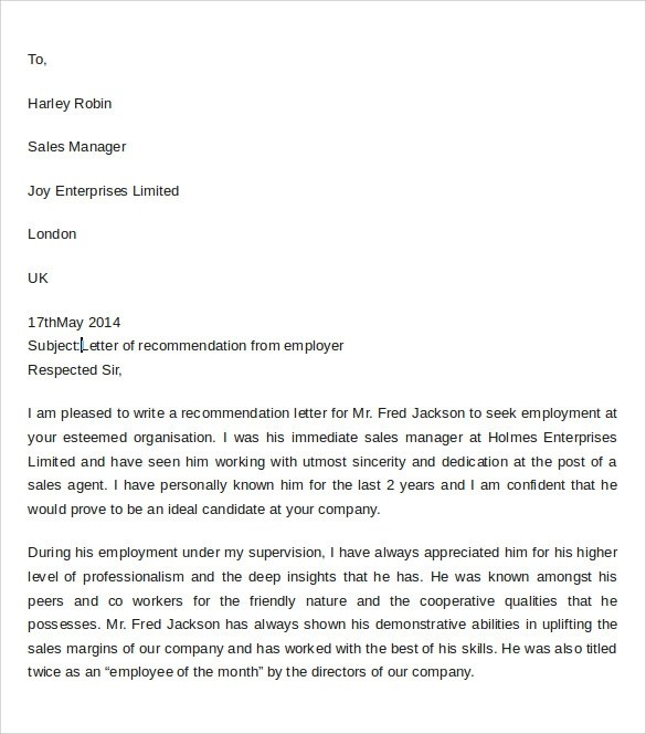 Professional Reference Letter From Employer | Job Recommendation
