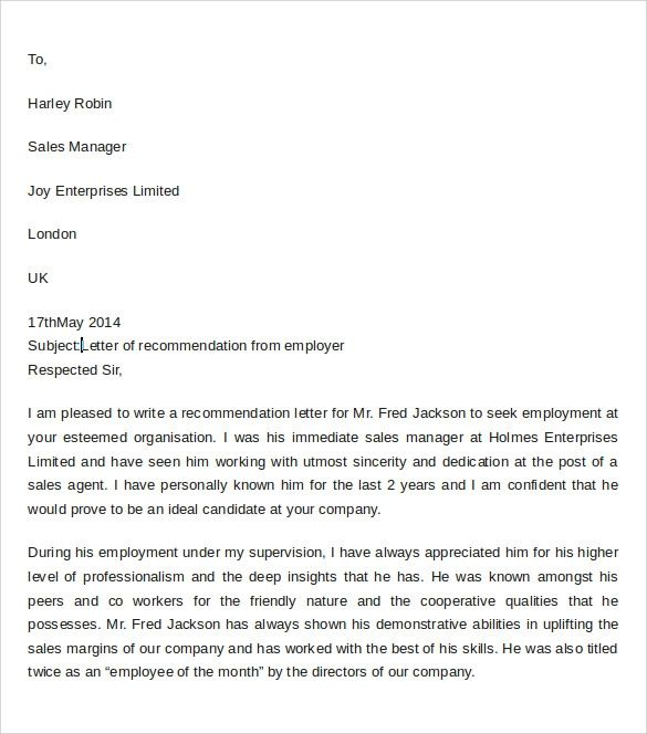 recommendation letter from employer sample