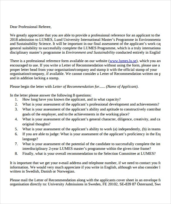 9 Professional Letter of Recommendation to Download for Free