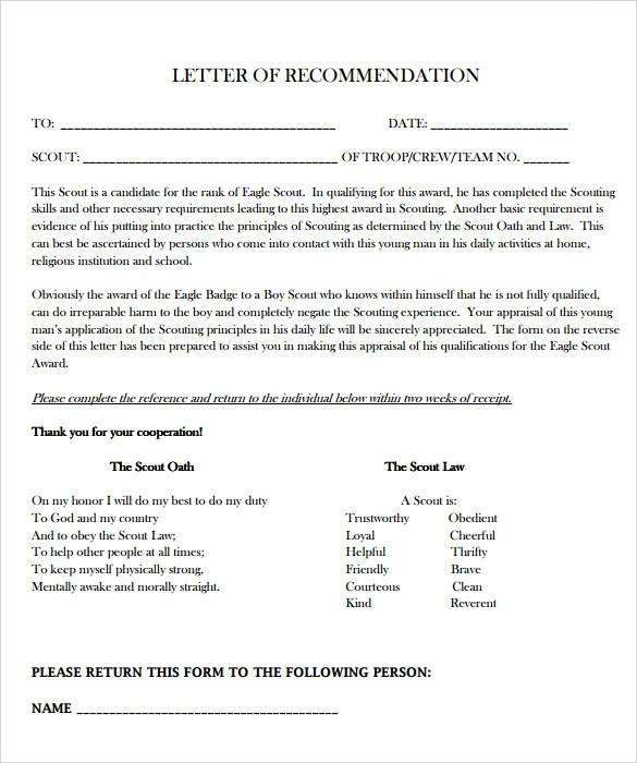 Sample Eagle Scout Letter of Recommendation - 9+ Download Documents