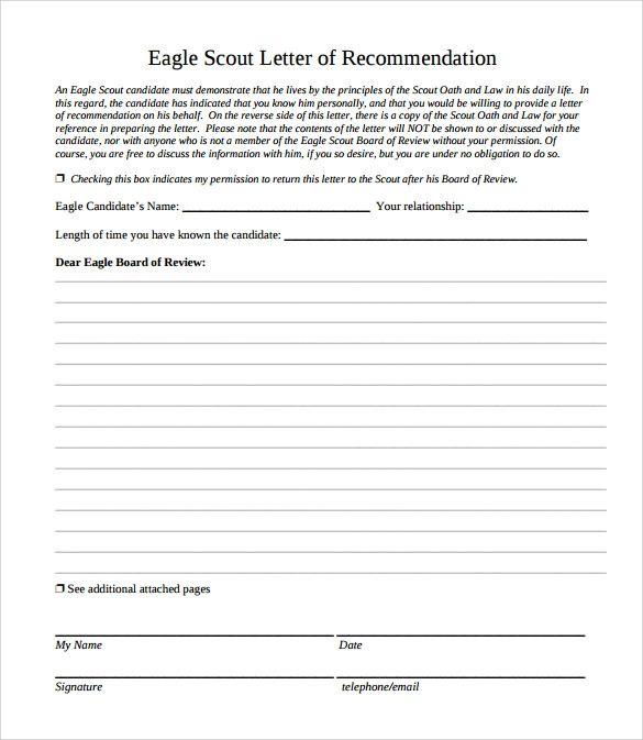 letter of recommendation eagle scout form