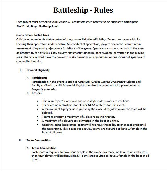 8+ Battleship Game Samples, Examples, Templates Sample Templates - sample battleship game