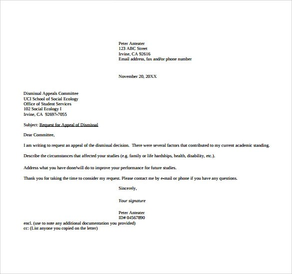 Appeal Letter Format Images - letter format formal example - example of appeal letter
