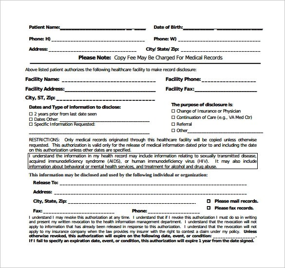 11 Generic Medical Record Release Forms \u2013 Free Samples , Examples - generic photo release form