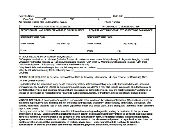 11 Generic Medical Record Release Forms \u2013 Free Samples , Examples