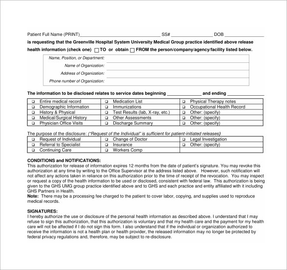 Generic Medical Record Release Form - 10+ Free Samples , Examples - medical information release form
