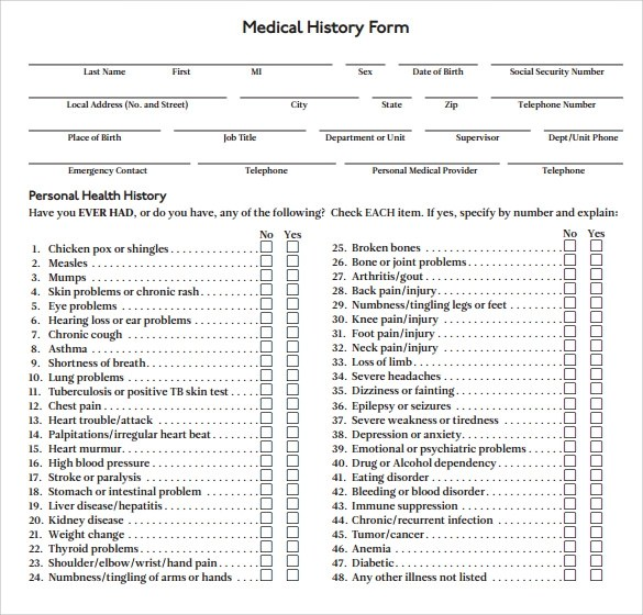 15+ Medical History Forms Sample Templates - sample medical history form